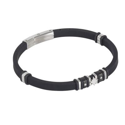 Black caucci bracelet with zircons and polar star