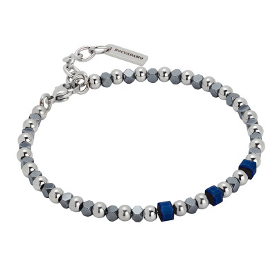 Bracelet with cubes of blue hematite