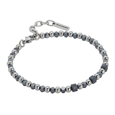 Bracelet with cubes of gray hematite