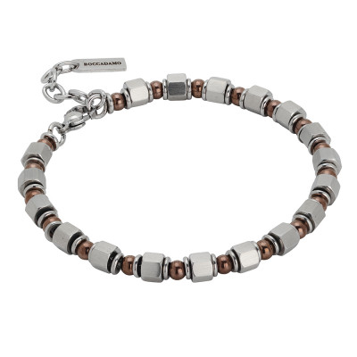 Bracelet with cubes of steel and brown pvd