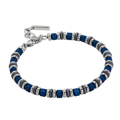 Steel bracelet and blue hematite