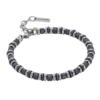 Steel bracelet and gray hematite