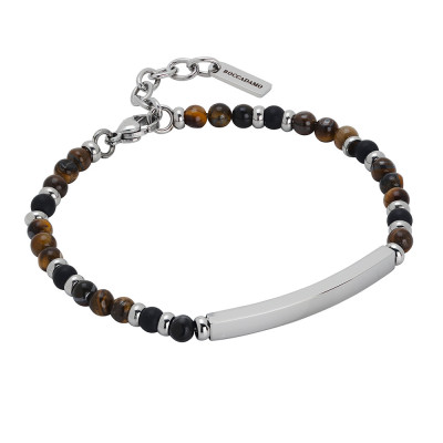 Bracelet with tiger's eye and rhodium-plated central plate