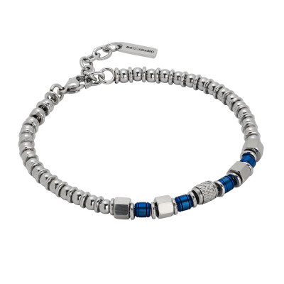 Beads bracelet with blue pvd