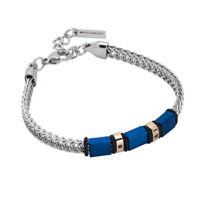 Rhodium plated bracelet with cubic zirconia and blue pvd