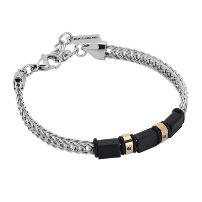 Bi-color bracelet, zircons and black pvd