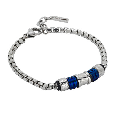 Bracelet with elements with diamond effect and blue pvd