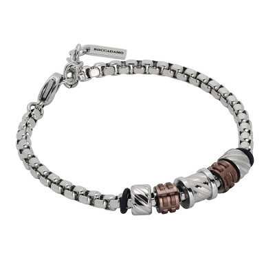 Bracelet with elements with a diamond effect and brown pvd