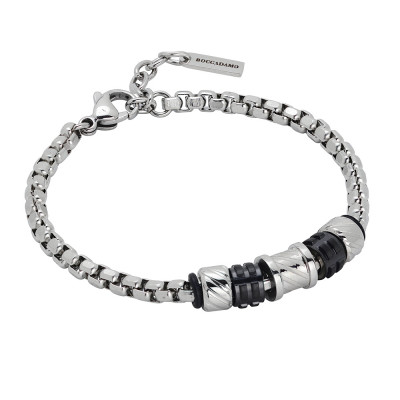 Bracelet with elements with diamond effect and black pvd
