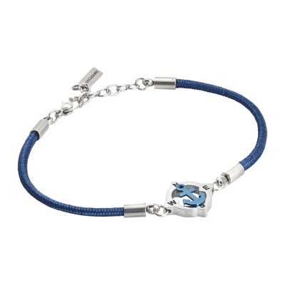 Man bracelet with blue marine cord and pvd still