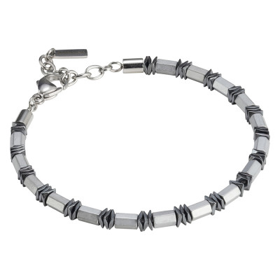 Men's bracelet in white steel and hematite