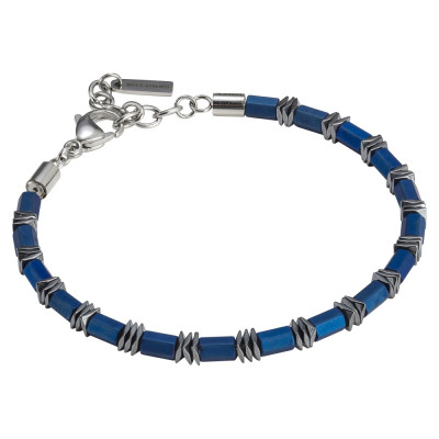 Blue steel and hematite man bracelet