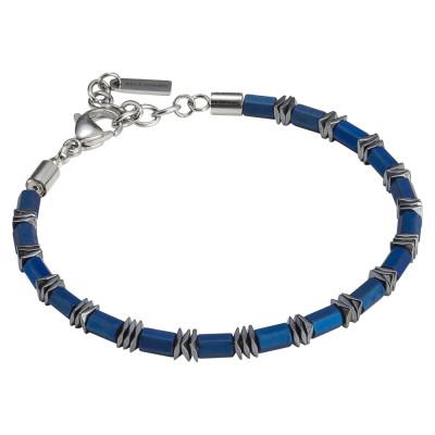 Blue steel and hematite man bracelet