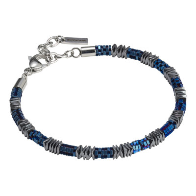 Man bracelet with mobile elements in blue steel and hematite