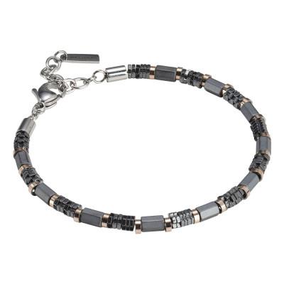 Man bracelet in black steel and hematite