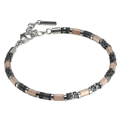 Man bracelet in rose gold plated steel and hematite