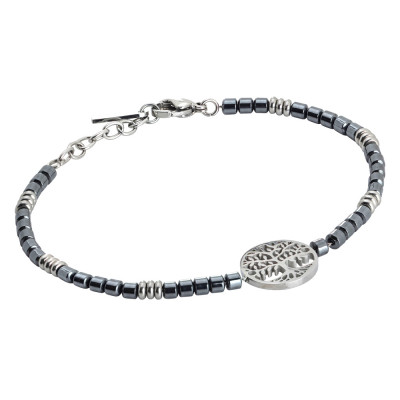 Men's stainless steel bracelet with rhodium-plated tree of life