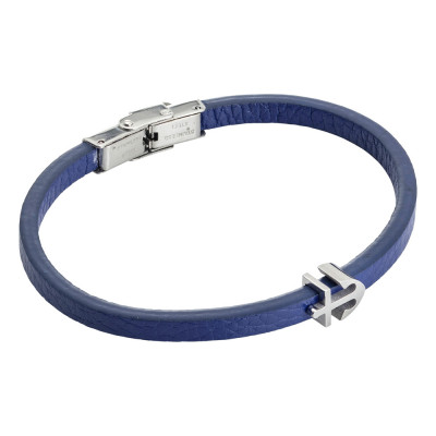 Blue and leatherette bracelet