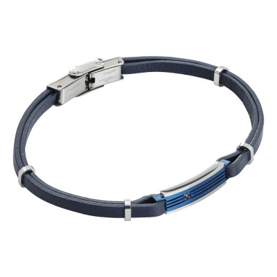 Blue and zircon leatherette bracelet