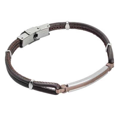 Brown braided leatherette bracelet