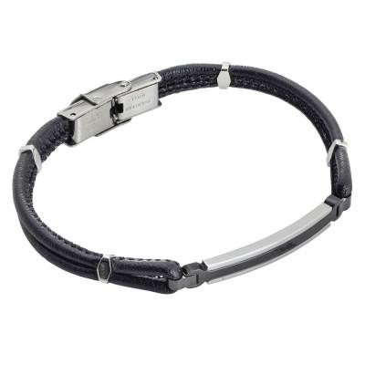 Black braided leatherette bracelet