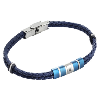 Two-wire bracelet in blue and zircon leatherette
