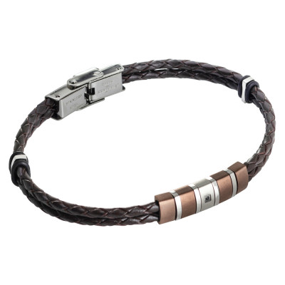 Two-wire bracelet in brown and zircon leatherette