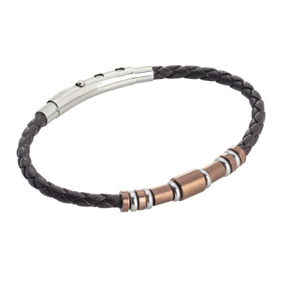 Brown leatherette bracelet and pink pvd inserts