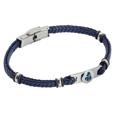 Blue leatherette bracelet with blue pvd anchor