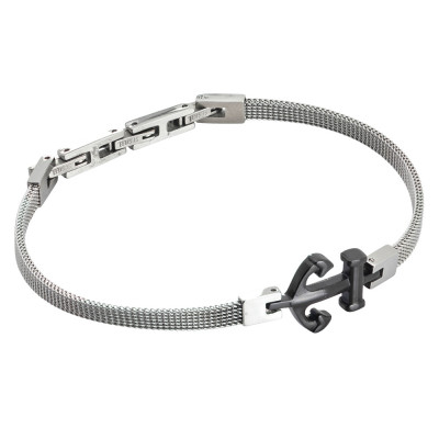 Milan mesh steel bracelet with pvd anchor