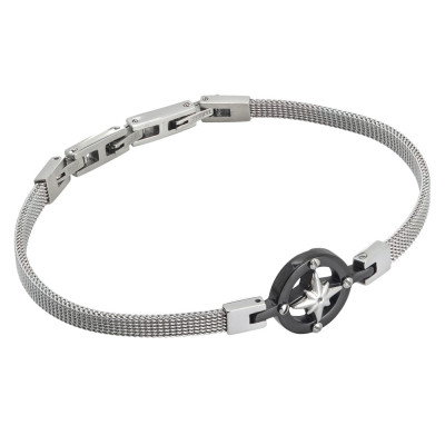 Milan mesh steel bracelet with wind rose on pvd