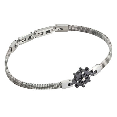 Milan mesh steel bracelet with pvd rudder