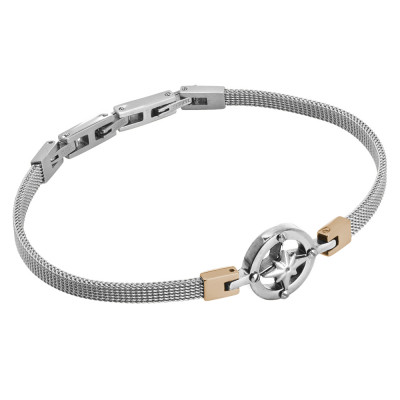 Milan mesh steel bracelet with wind rose