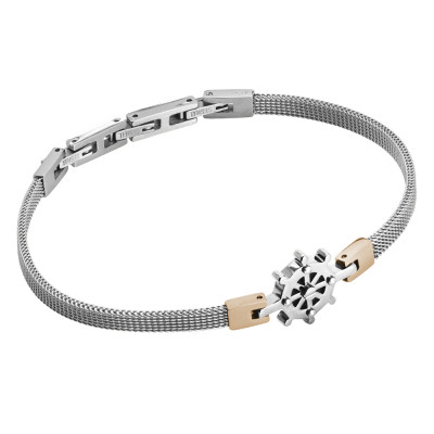 Milan mesh steel bracelet with rudder