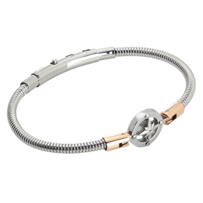 Tubular steel bracelet with wind rose