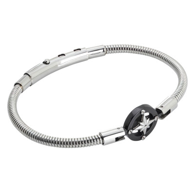 Tubular steel bracelet with wind rose in black pvd