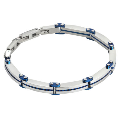 Blue and steel PVD link bracelet