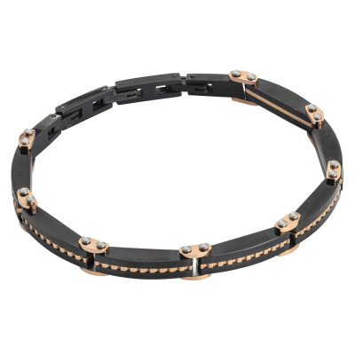 Black and pink pvd link bracelet