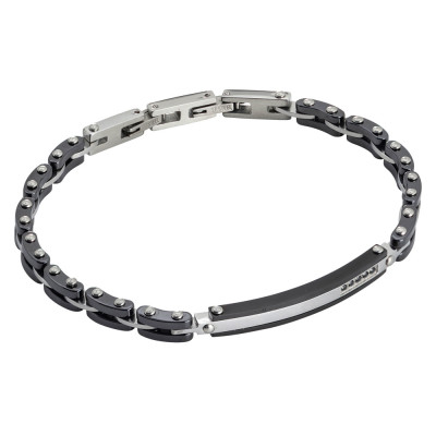 Black ceramic, steel and zircon link bracelet