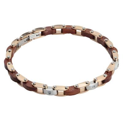 Two-tone steel link bracelet, wood and zircons