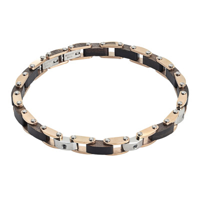 Two-tone steel link bracelet, black wood and zircons