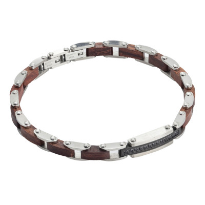 Steel bracelet with brown wood links and black spinels