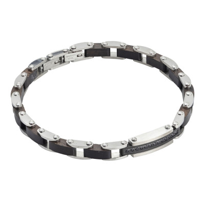 Steel bracelet with black wood links and black spinels