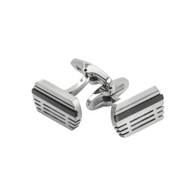 Steel cufflinks with black pvd inserts