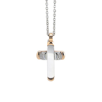 Necklace with cross pendant bicolor and zircons