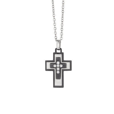 Necklace with crucifix in black pvd and zircons