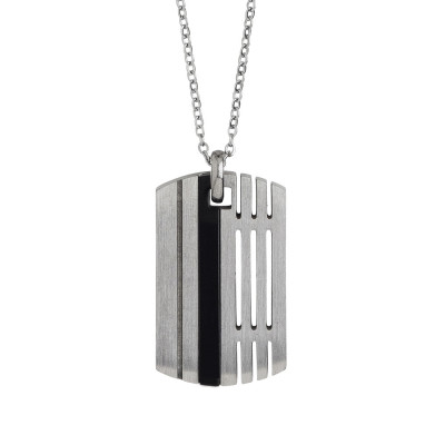 Steel necklace with plate and black pvd
