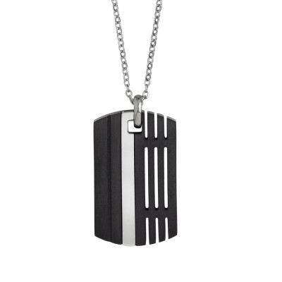 Steel necklace with black pvd plate
