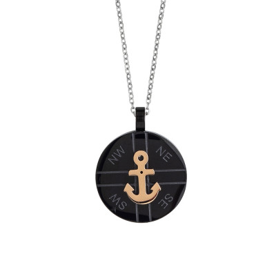 Steel necklace with black and anchor pvd element