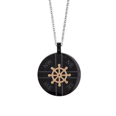 Steel necklace with black pvd element and rudder